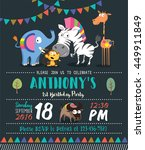cute animals   birthday party... | Shutterstock .eps vector #449911849