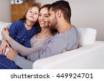 joyful family of beautiful... | Shutterstock . vector #449924701