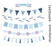buntings set blue and violet... | Shutterstock .eps vector #449930491