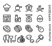 cooking icon set  in thin line...