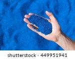 top view on hands holding... | Shutterstock . vector #449951941