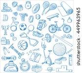 hand drawn fitness doodle set | Shutterstock .eps vector #449963965