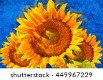 Постер, плакат: Sunflowers Van Gogh style imitation