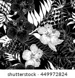 black and white floral pattern | Shutterstock .eps vector #449972824