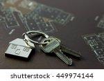 house keys on real estate floor ... | Shutterstock . vector #449974144