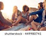 mixed race friends having fun... | Shutterstock . vector #449980741