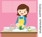 vector of a woman washing... | Shutterstock .eps vector #449993551