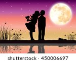 love under the moonlight ... | Shutterstock .eps vector #450006697
