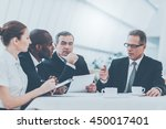 discussing business together.... | Shutterstock . vector #450017401