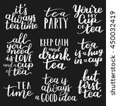 quotes about tea typography set.... | Shutterstock .eps vector #450032419