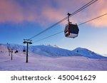 Gondola Lift In The Ski Resort...