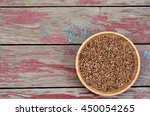 bowl with buckwheat on rustic... | Shutterstock . vector #450054265