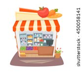 grocery store interior. street... | Shutterstock .eps vector #450058141