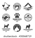 set of vector dog logo and... | Shutterstock .eps vector #450068719