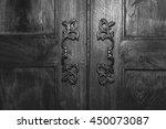 Handle On Wooden Door. Black...