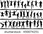 silhouettes of young people and ... | Shutterstock .eps vector #450074251