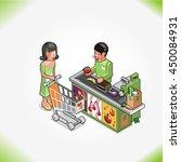 woman buys healthy groceries in ... | Shutterstock .eps vector #450084931