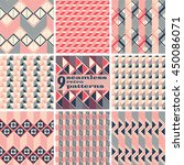 set of 9 seamless retro... | Shutterstock .eps vector #450086071