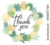 thank you card. floral  wreath. ... | Shutterstock .eps vector #450087784