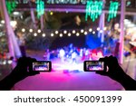 take photo crowd in front of... | Shutterstock . vector #450091399