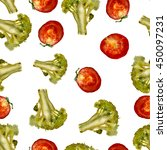 broccoli and tomatoes pattern ... | Shutterstock . vector #450097231