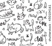 set of cute cat. pet animal... | Shutterstock .eps vector #450104161