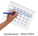 left hand cross out dates   one ... | Shutterstock . vector #450117091