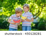 two little preschool kid boys... | Shutterstock . vector #450128281