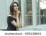 romantic young woman at the... | Shutterstock . vector #450138841
