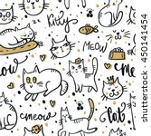 Stock vector seamless pattern with cute cat pet animal vector illustration 450141454