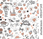 set of doodle princess and... | Shutterstock .eps vector #450147145