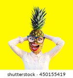 emotional funny girl with... | Shutterstock . vector #450155419