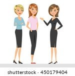 group of three talking women.... | Shutterstock .eps vector #450179404
