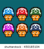 8 bit cute mushrooms game asset | Shutterstock .eps vector #450185104