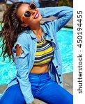fashion stylish beautiful young ... | Shutterstock . vector #450194455