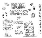 hand drawing ink summer set... | Shutterstock .eps vector #450196705