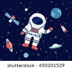 astronaut floating in outer... | Shutterstock .eps vector #450201529