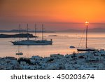 Sunset In Mykonos  Greece  With ...