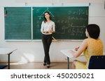 teacher or docent or educator... | Shutterstock . vector #450205021