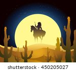 native american ride a horse... | Shutterstock .eps vector #450205027