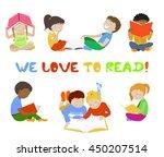 vector set of reading kids.... | Shutterstock .eps vector #450207514