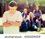 lonely sad male teenager...   Shutterstock . vector #450209059