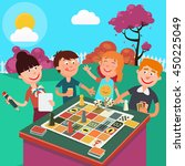 happy family playing board game ... | Shutterstock .eps vector #450225049