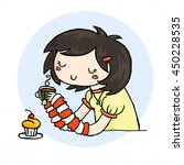 cute doodle girl with cup of...   Shutterstock .eps vector #450228535