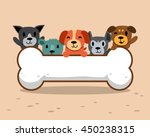 cartoon dogs with big bone | Shutterstock .eps vector #450238315