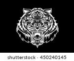 hand drawn tiger head tattoo... | Shutterstock .eps vector #450240145
