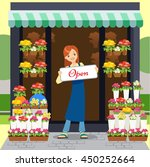 florist holding open sign while ... | Shutterstock .eps vector #450252664