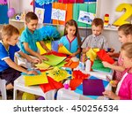 group kids are making something ... | Shutterstock . vector #450256534