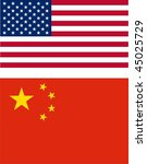 USA and China flags - stock photo