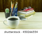 coffee smart phone glasses and... | Shutterstock . vector #450266554